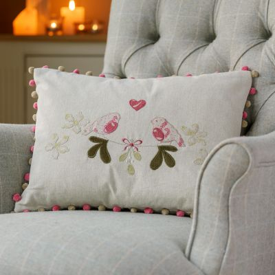 Handmade using linen and velvet applique and embroidery on a delicate grey 100% cotton base cloth with rose and Beech Pompoms.