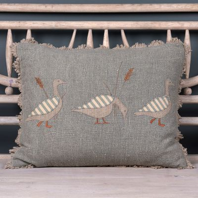 Embroidered Blue Geese Cushion
