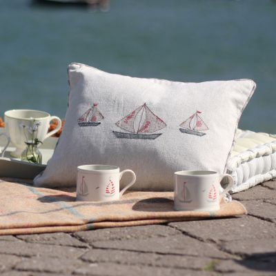 Embroidered Grey Red Boat Cushion