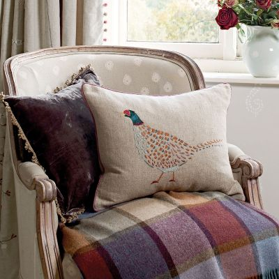 Embroidered Pheasant Linen Cushion