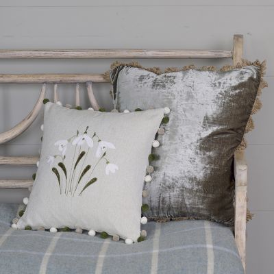 Embroidered Grey Snowdrop Cushion