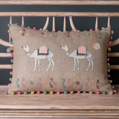 Embroidered Linen Cushion - Camel Trail