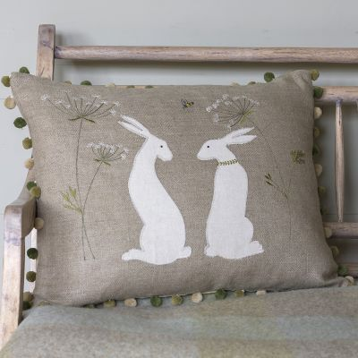 Embroidered Summer Hares Linen Cushion