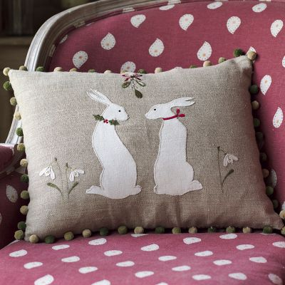 Embroidered Winter Hares Linen Cushion