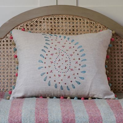 Salcombe Blue Embroidered Malathi Linen - 146