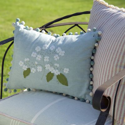 Embroidered Duck Egg Lacecap Hydrangea Cushion
