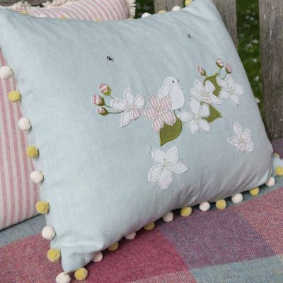 Embroidered Apple Blossom Flower Cushion