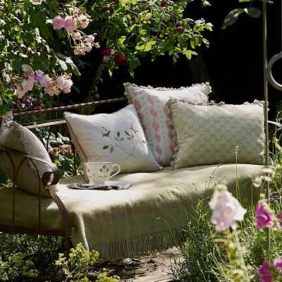 Embroidered Crossed Rosebuds Linen Cushion