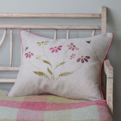Olive & Pink Echinacea Linen Cushion