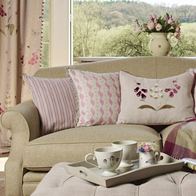Violet Beech Ticking Stripe Cushion