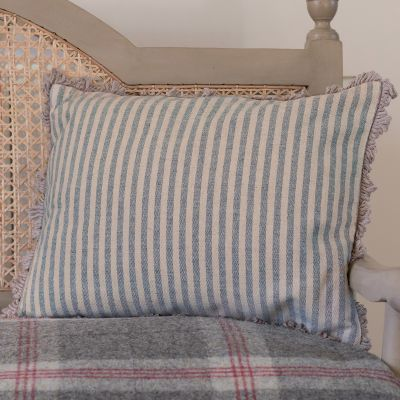 French Blue Natural Stripe Cushion