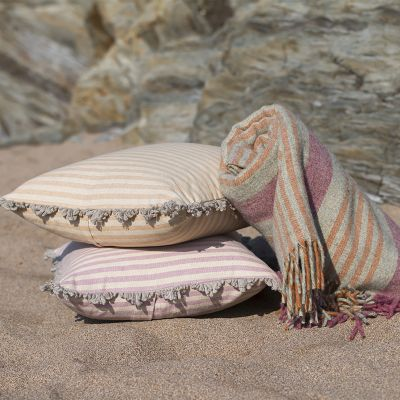 Dusky Pink Natural Stripe Cushion