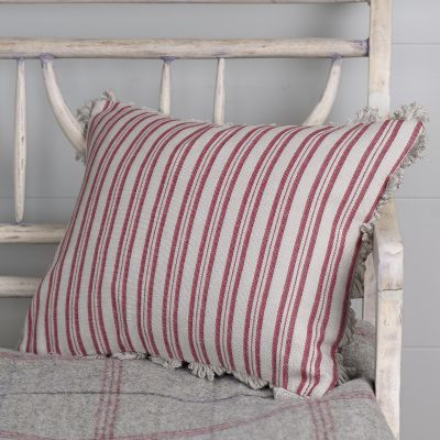 Berry Red Beech Ticking Stripe Cushion with Fan Edge