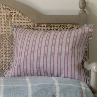 Violet Beech Ticking Stripe Cushion with Fan Edge