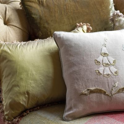 Pale Olive Silk Cushion