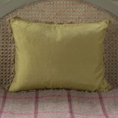 Pale Olive Silk Cushion - Seconds