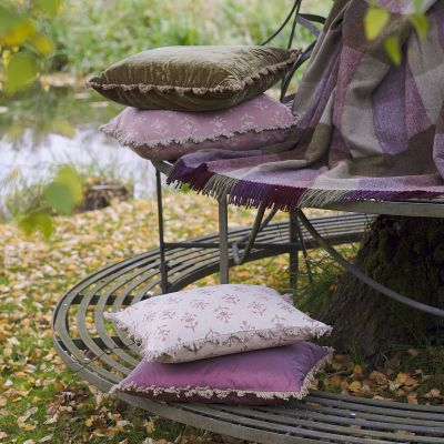 Grape Moonflower Linen Cushion