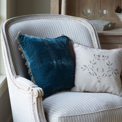 Marine Blue Velvet Cushion