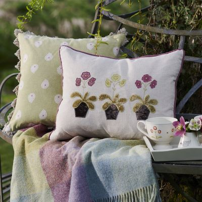 Embroidered Charcoal  Auriculas Linen Cushion