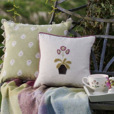 Charcoal Auricula Embroidered Linen Cushion