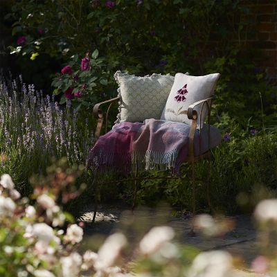 Embroidered Magenta Foxglove Linen Cushion