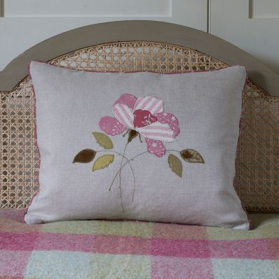 Red Rose Appliqué Linen Cushion