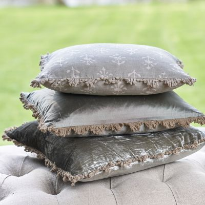Smokey Blue Moonflower Linen Cushion