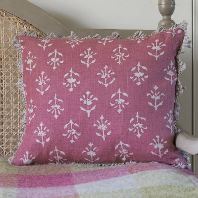 Indian Red Reverse Moonflower Linen Cushion