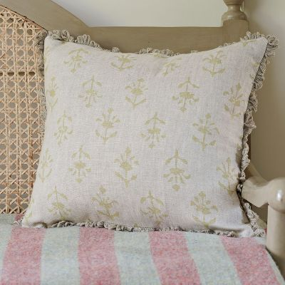 Summer Green Moonflower Linen Cushion