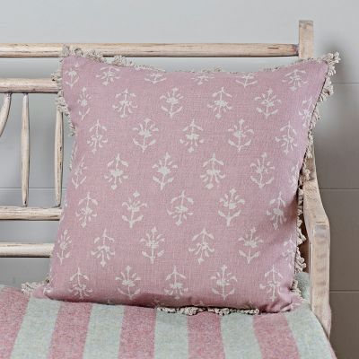 Violet Reverse Moonflower Linen Cushion