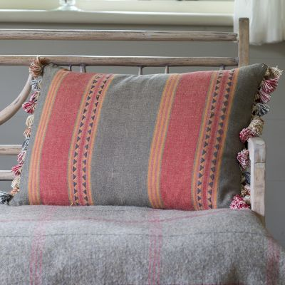 Jaipur Stripe Cotton Cushion with Tassels 60 x 40cm