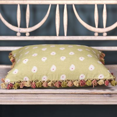 Summer Green Mika Large Seat Cushion with tassels