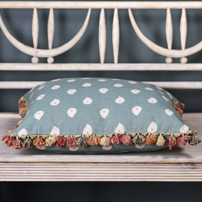 Marine Blue Mika Large Seat Cushion with tassels