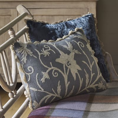 Charcoal Crewel Linen Cushion