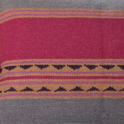 Jaipur Stripe Carved Square Kilim Footstool