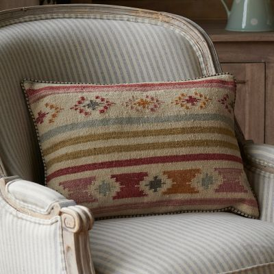Saffron Stripe Kilim Cushion - Grey