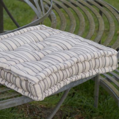 Beech Charcoal Ticking Stripe Box Cushion