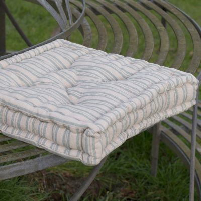 Beech Sail Blue Ticking Stripe Box Cushion