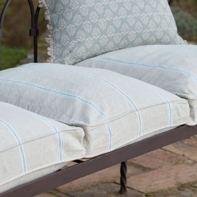 Large Blue Gustavian Stripe Garden Cushion with Feather Pad