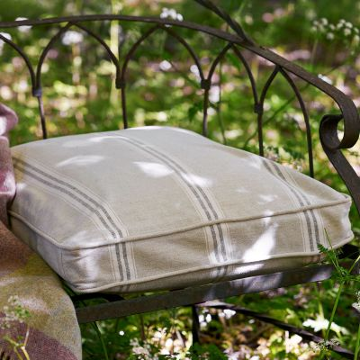 Large Charcoal Gustavian Stripe Garden Cushion