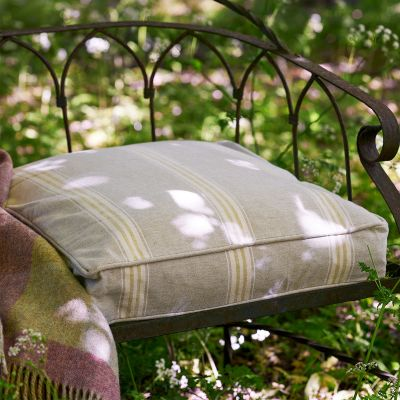 Large Green Gustavian Stripe Garden Cushion