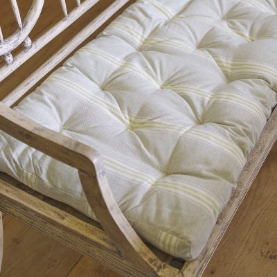 Gustavian Bench Box Cushion - Green Gustavian Stripe