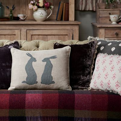Applique Pair of Hares Linen Cushion