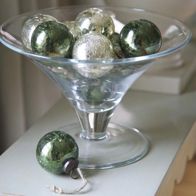 Crackle Glaze Glass Baubles