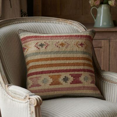 Saffron Stripe/Sea Grey Kilim Cushion