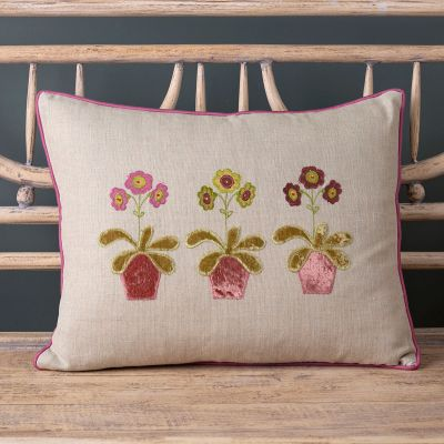 Embroidered Auriculas Linen Cushion