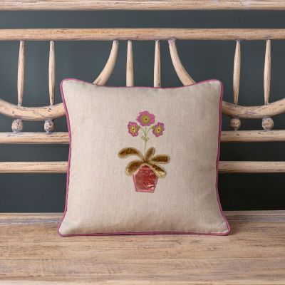 Embroidered Auricula Cushion