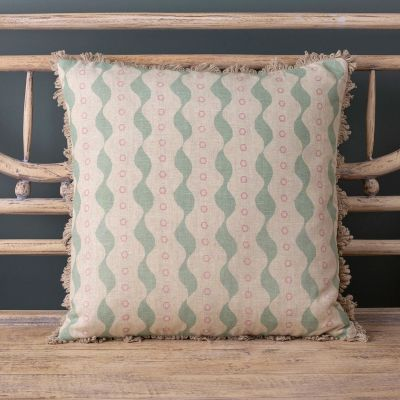 blue and pink linen cushion