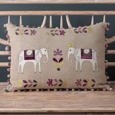 Embroidered Charcoal Indian Wedding Linen Cushion