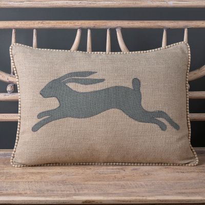 Applique Hare Linen Cushion